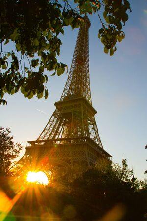 PARIS - SEPTEMBER 03  Tour Eiffel at sunset on September 3, 2013 in Paris, France photo
