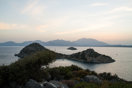 marmara: Sunset over sea and mountains in Datca, Turkey.