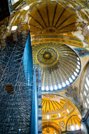 patriarchal: ISTANBUL, TURKEY - SEPTEMBER 23: Interior of Hagia Sophia former Greek Orthodox patriarchal basilica (church), later an imperial mosque, and now a museum (Ayasofya M?zesi) on September 23, 2014 in Istanbul, Turkey