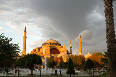 patriarchal: ISTANBUL, TURKEY - SEPTEMBER 23: Sunset over Hagia Sophia former Greek Orthodox patriarchal basilica (church), later an imperial mosque, and now a museum (Ayasofya M?zesi) on September 23, 2014 in Istanbul, Turkey Editorial