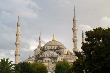 popularly: ISTANBUL, TURKEY - SEPTEMBER 23: The Sultan Ahmed Mosque  (Turkish: Sultan Ahmet Camii), popularly known as the Blue Mosque  on September 23, 2014 in Istanbul, Turkey Editorial