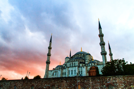 ISTANBUL, TURKEY - SEPTEMBER 23: Sunset at The Sultan Ahmed Mosque  (Turkish: Sultan Ahmet Camii), popularly known as the Blue Mosque  on September 23, 2014 in Istanbul, Turkey