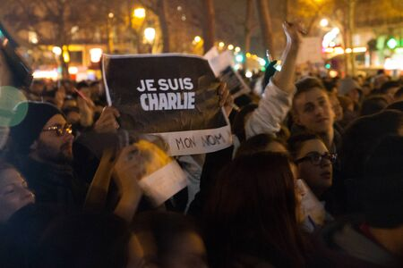 PARIS - JANUARY 8: Peaceful protest in Place de la Republique against the terrorist attack on Charlie Hebdo journal, Paris, France on 08 January 2015