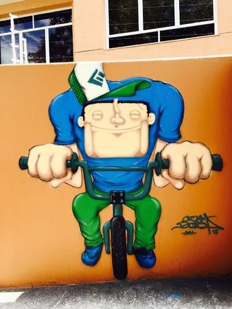 colour: Graffiti on the walls of Vila Madalena neighborhood on May 23 2015 in Sao Paulo Brazil Stock Photo