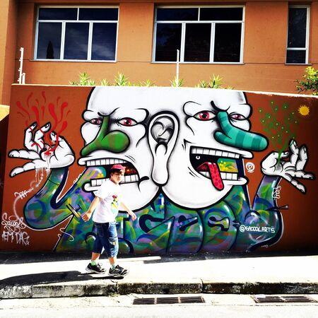 creative: Graffiti on the walls of Vila Madalena neighborhood on May 23 2015 in Sao Paulo Brazil Stock Photo
