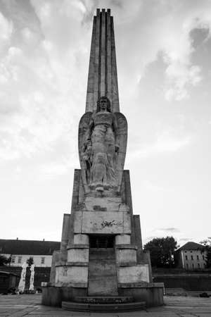 habsburg: ALBA IULIA - SEPTEMBER 09: Column at the fortress Alba Carolina, designed by architect Giovanni Morando Visconti, at the behest of Emperor Charles VI of Habsburg on the site of the ancient Apulum, founded by the Romans in the 2nd century A.D., and the sit Editorial