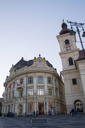 er: SIBIU - SEPTEMBER 09: Image of the Grand Square in Sibiu (Piața Mare din Sibiu, Großer Ring), designated the European Capital of Culture for the year 2007. Sibiu, Romania on 09 September 2015 Editorial