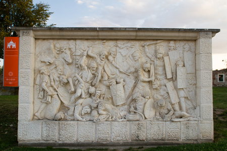 habsburg: ALBA IULIA - SEPTEMBER 09: Details from the fortress Alba Carolina, designed by architect Giovanni Morando Visconti, at the behest of Emperor Charles VI of Habsburg on the site of the ancient Apulum, founded by the Romans in the 2nd century A.D., and the
