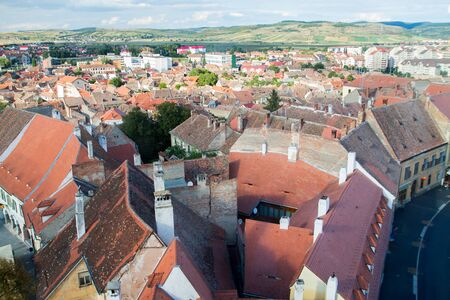 designated: Aerial view of Sibiu(Hermanstadt), old german medieval city in Romania, which was designated in 2007 the European Cultural Capital. 9 September 2015