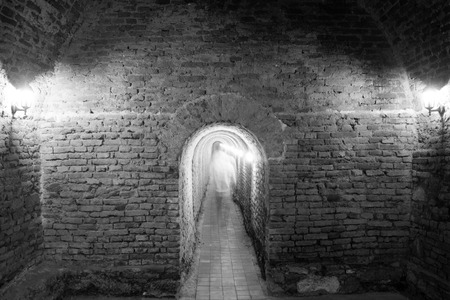 2nd century: ALBA IULIA - SEPTEMBER 09: Underground passage in the fortress Alba Carolina, designed by architect Giovanni Morando Visconti, at the behest of Emperor Charles VI of Habsburg on the site of the ancient Apulum, founded by the Romans in the 2nd century A.D.