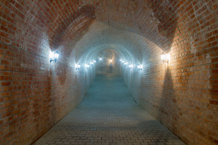 underground passage: ALBA IULIA - SEPTEMBER 09: Underground passage in the fortress Alba Carolina, designed by architect Giovanni Morando Visconti, at the behest of Emperor Charles VI of Habsburg on the site of the ancient Apulum, founded by the Romans in the 2nd century A.D.