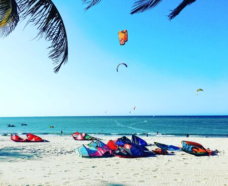 Kitesurfing in North of Brazil Banco de Imagens
