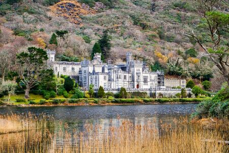 Kylemore Abbey, a Benedictine monastery in on the grounds of Kylemore Castle, in Connemara, County Galway, Ireland.