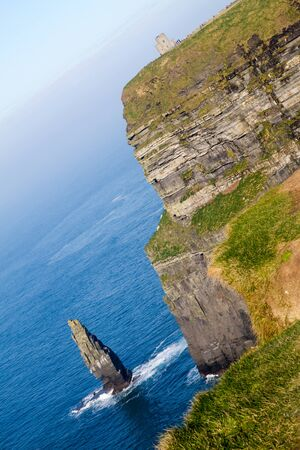 Beautiful landscape at the famous Cliffs of Moher and  OBriens Tower in Co. Clare, Europe, ireland