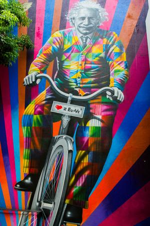 사 파울로 -4 월 10 일 : 브라질 아티스트 Kobra, 스트리트 아트, 자전거에 아인슈타인을 대표 하 고 당신과 나와 2017 년 4 월 10 일 브라질 상파울루 거리에서 사랑하는 메시지 스톡 콘텐츠 - 80742825