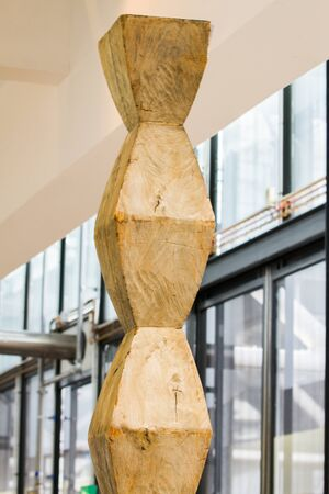 constantin: PARIS - SEPTEMBER 02:  Wooden work by Romanian sculptor, painter and photographer Constantin Brancusi at  Centre Georges Pompidou, the largest museum for modern art in Europe on September 2nd, 2017 in Paris, France