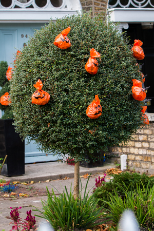 DUBLIN, IRELAND - October 2018: House with Halloween decorations. Halloween is an Irish holiday at origins. In Dublin, Ireland, October 2018