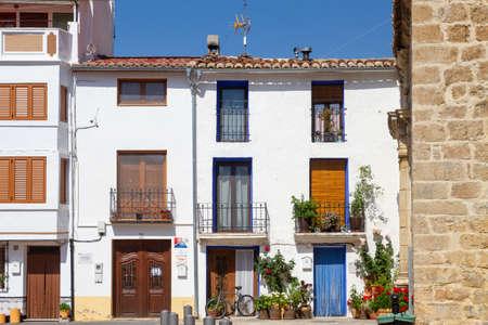 Aras de los Olmos, Spain - June 29, 2020: View from the empty streets of the village in summer after covid-19 lockdown in Aras de los Olmos, Los Serranos, Valencia, Spain on June 29th, 2020