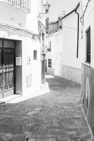 Chelva, Spain - June 29, 2020: View from the empty streets of the village in summer after covid-19 lockdown in Chelva, Valencia, Spain on June 29th, 2020