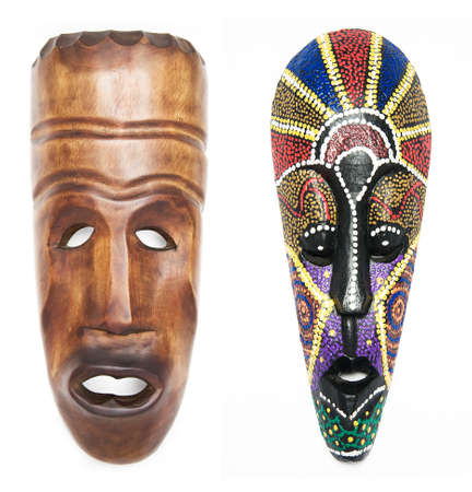 Two masks for ceremonies on a white background Stock Photo