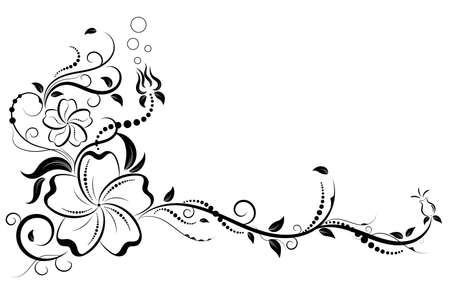 Floral elements design, luxury ornamental graphic element border, swirls flowers,foliage swirl decorative design for page decoration cards, wedding, banner, logos, frames, labels, cafes, boutiques