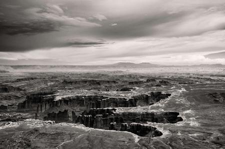 plateau point: Canyonlands National Park view - Utah USA - Black White Stock Photo