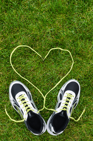 White sneakers for running on grass with heart with space on top