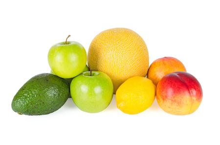 Fresh and tasty summer fruits isolated on white background photo