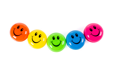 Colorful smileys isolated on white background