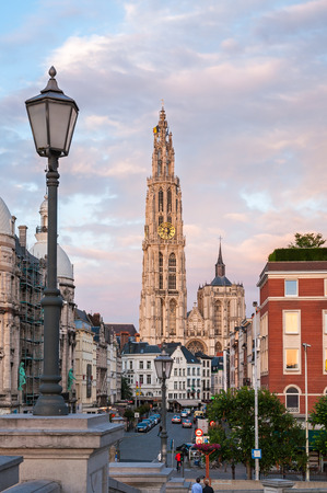 View at Cathedral of Our Lady and Suikerrui street in Antwerp, Belgium