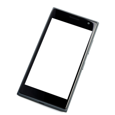 Modern touch screen glossy smartphone isolated on white background