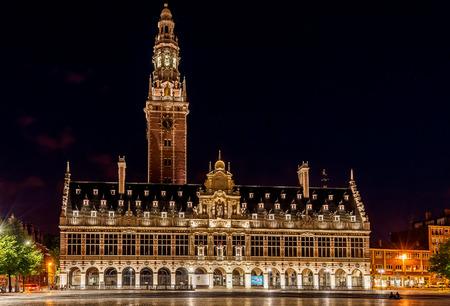 iluminated: Iluminated University Library at night on Ladeuzeplein in Leuven, Belgium