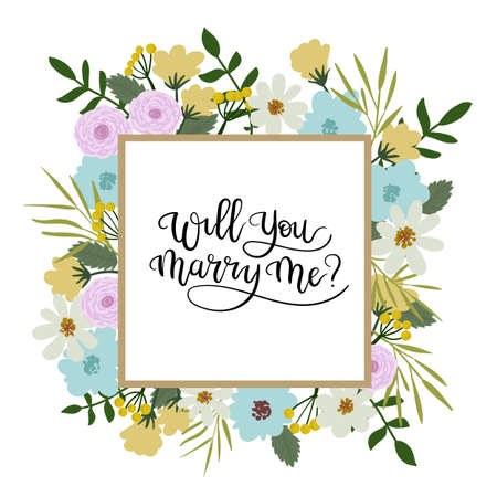 Zult u met me met een handbriefing wenskaart. Bloemen Frame Vector Illustratie