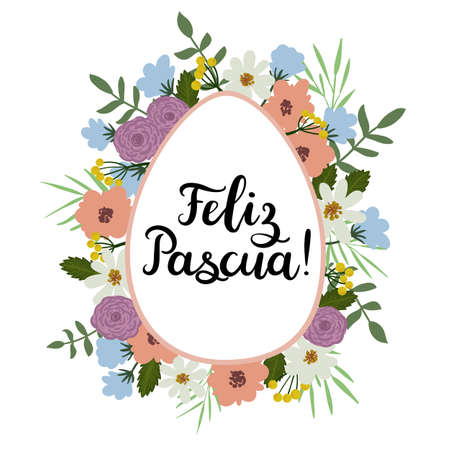 Happy Easter in Spanish. Modern Calligraphy Greeting Card. Brush Lettering.