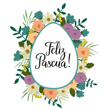 happy: Happy Easter in Spanish. Modern Calligraphy Greeting Card. Brush Lettering.