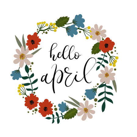 Hello April hand lettering greeting card.
