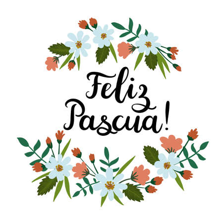 goodness: Happy Easter in Spanish Feliz Pascua . Modern Calligraphy Greeting Card.