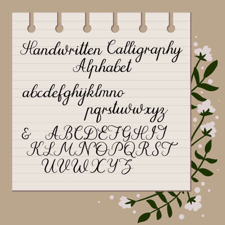 Handwritten alphabet. Modern Calligraphy. Uppercase, lowercase letters. Hand drawn script.