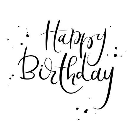 Happy Birthday Calligraphy Inscription Handwritten Brush Ink