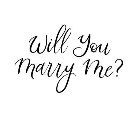 Will You Marry Me Hand Lettering Biglietto di auguri. Calligrafia moderna Illustrazione vettoriale Arredamento di nozze