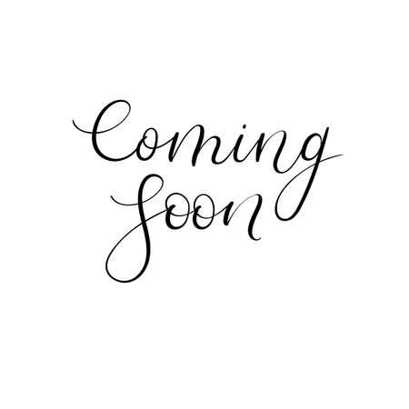 open type font: Coming soon handwritten inscription. Design element. Modern calligraphy. Handwritten text.