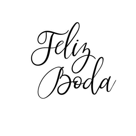 Happy wedding hand lettering text in Spanish. Feliz Boda. Calligraphy inscription for greeting cards, wedding invitations. Vector brush calligraphy