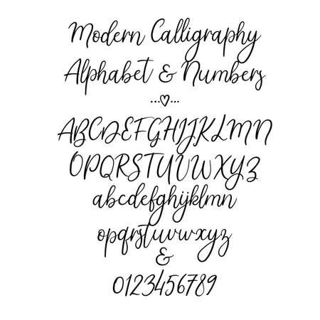 Vector Alphabet. Brush Letters. Handwritten font. Hand lettering typography