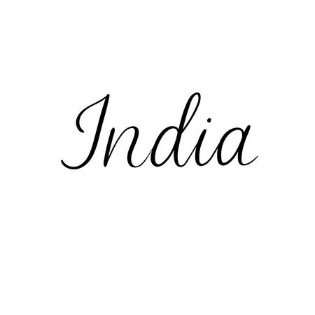 inscriptions: India. Modern calligraphy greeting card. Handwritten inscription for banner, postcard, t-short, label, poster tourism design. Vector hand lettering