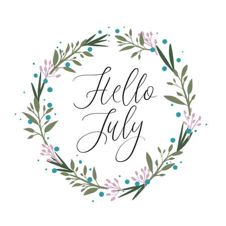 Hello July calligraphy inscription. Summer greeting card with floral wreath, postcard, card, invitation, banner template. Vector brush calligraphy. Summer hand lettering typography.
