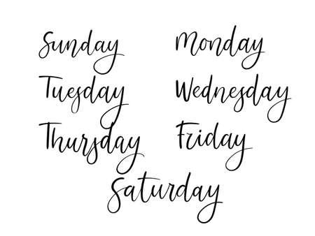 Handwritten days of week. Vectores