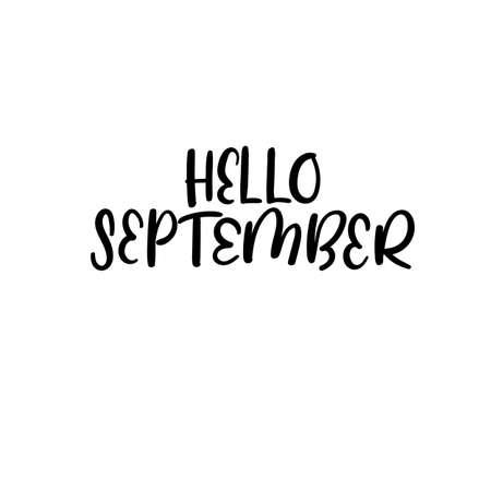 bonjour septembre main lettrage de la typographie. carte de voeux aquarelle . carte de voeux