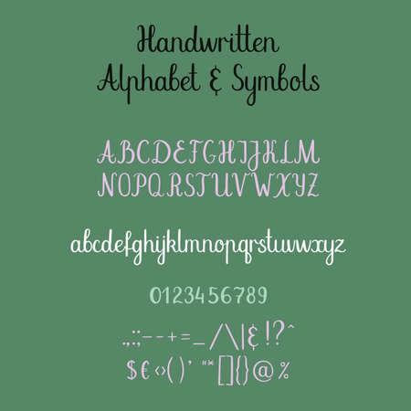 english letters: Calligraphic alphabet. Handwritten brush font. Uppercase, lowercase, ampersand. Wedding calligraphy