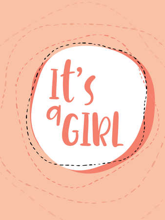 baby announcement card: Its a girl hand lettering card on a pink background. Illustration