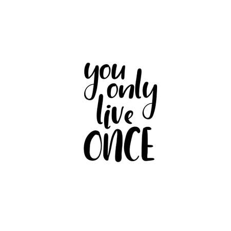 You Only Live Once Handwritten Phrase On A Black Background Royalty